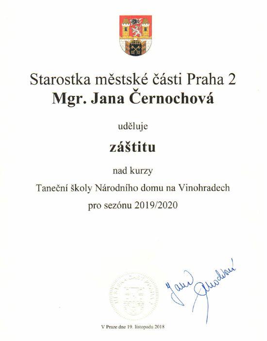 Záštita starostky Prahy 2 Mgr. Černochové